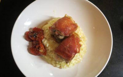Kycklinglårfile med prosciutto eller sojafilé med vegobacon