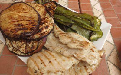 Ugnsbakade grönsaker med kyckling eller sojafilé