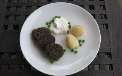 Gröna ärtbiffar med yoghurt/sojghurt