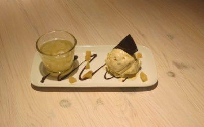 Päron med syltad ingefära och vaniljglass