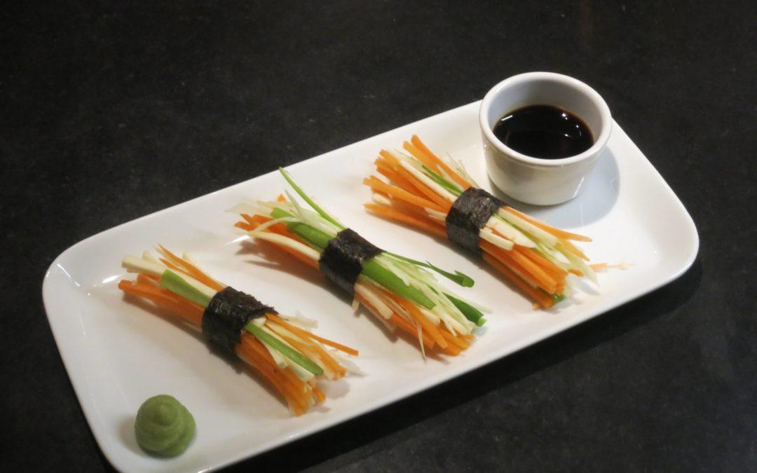 Grönsaker med nori, soja och wasabi