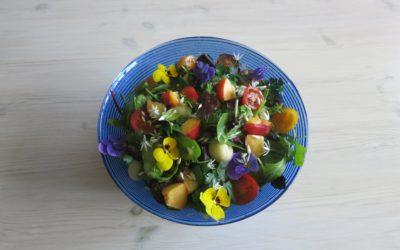 Fruktig sallad med färskpotatis serveras med ugnsbakad lax eller stekta sojafiléer