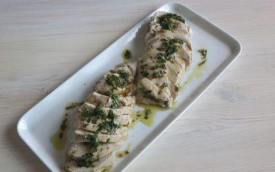 Kall marinerad kyckling eller Oumph med färskpotatissallad